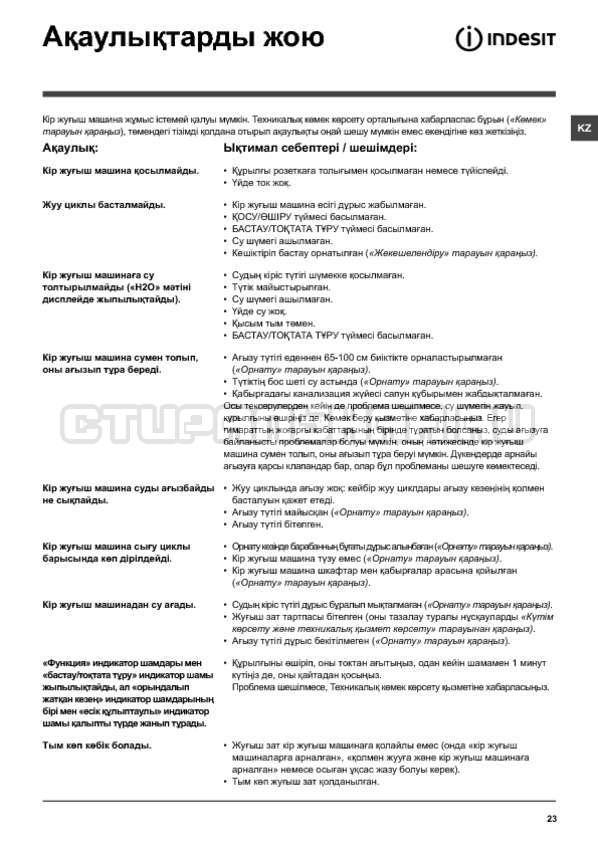 Инструкция Indesit IWSD 6105 B страница №23