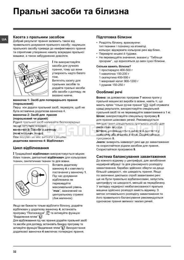 Инструкция Indesit IWSD 6105 B страница №32