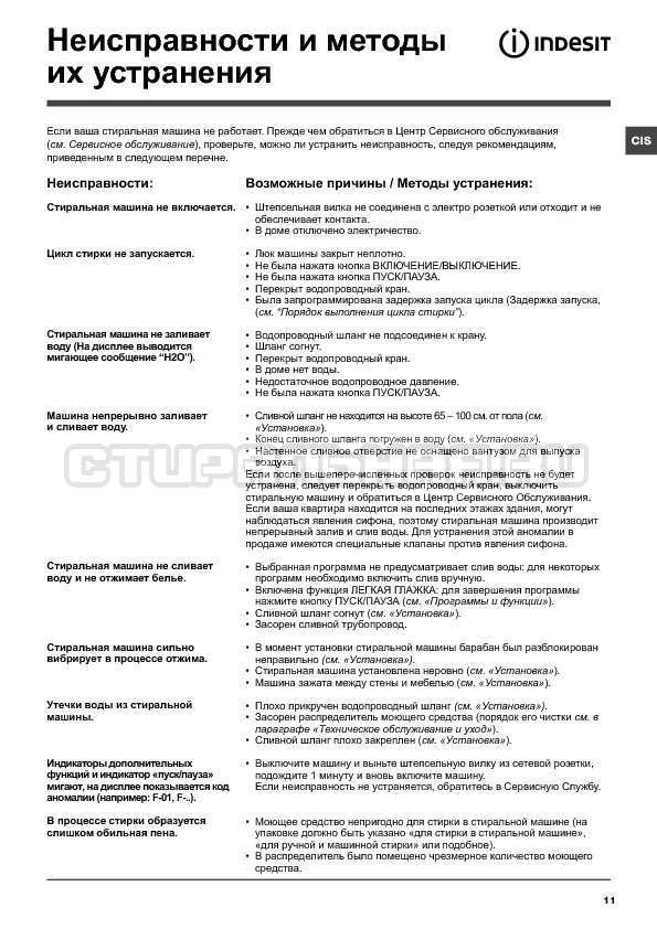 Инструкция Indesit IWSE 6125 страница №11