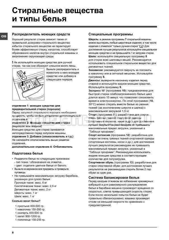 Инструкция Indesit IWSE 6125 страница №8