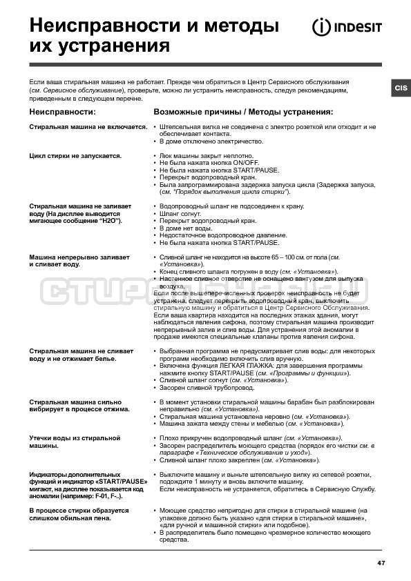 Инструкция Indesit IWTE 71280 ECO страница №47