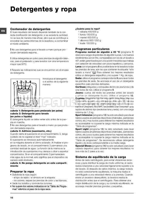 Инструкция Indesit IWTE 71280 ECO страница №10