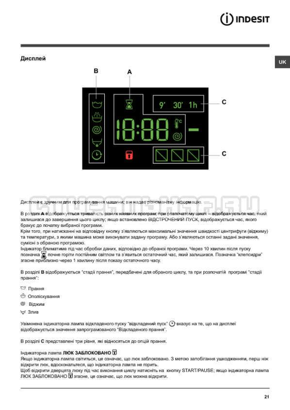 Инструкция Indesit NWSK 7125 L страница №21