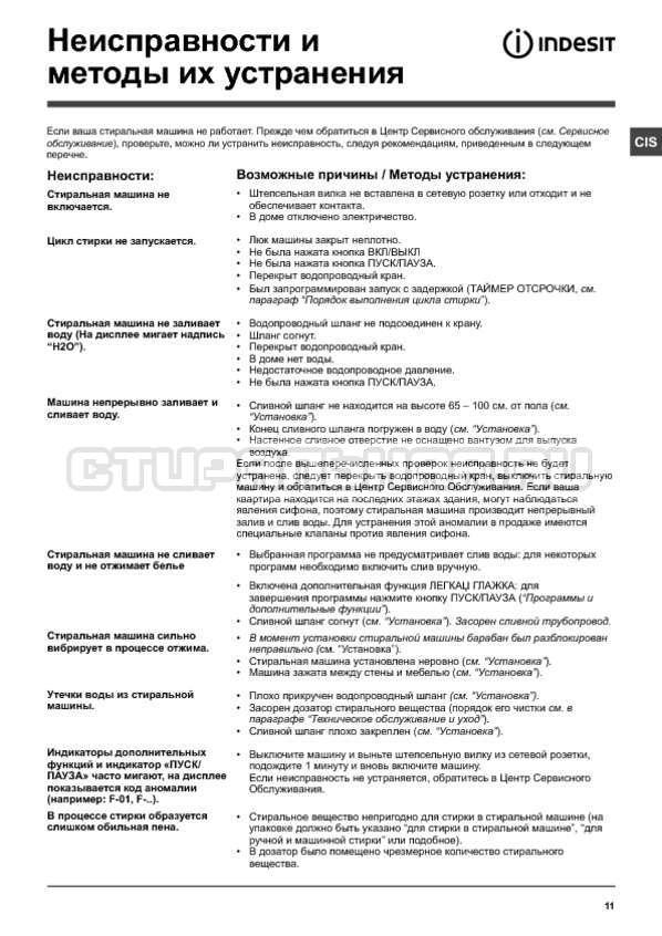 Инструкция Indesit PWE 7127 S страница №11