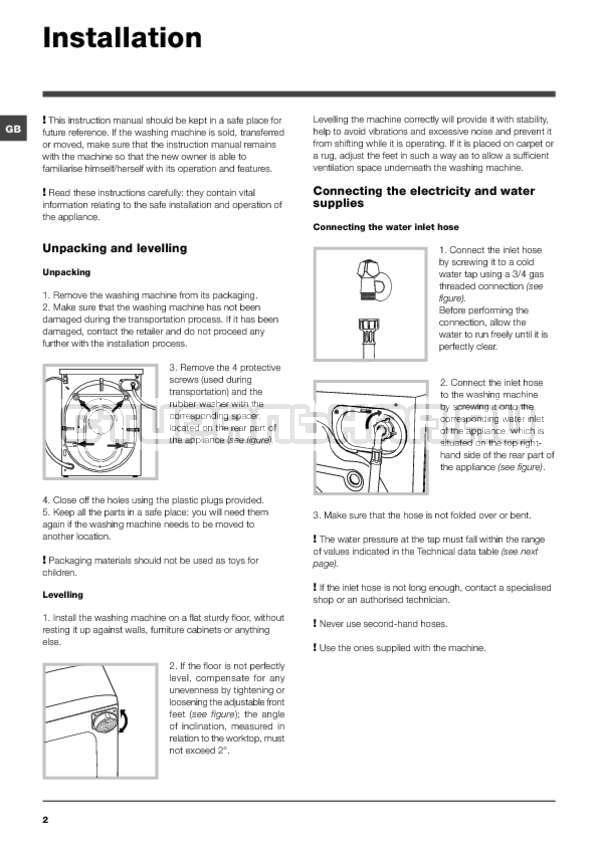 Инструкция Indesit PWE 91273 S страница №2