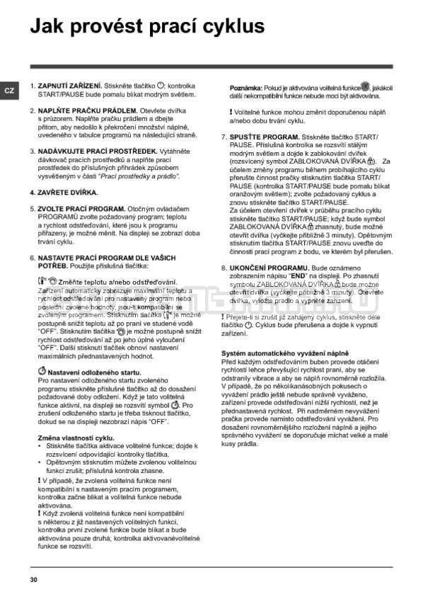 Инструкция Indesit PWE 91273 S страница №30