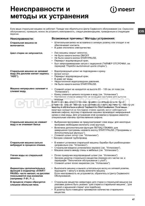 Инструкция Indesit PWE 91273 S страница №47