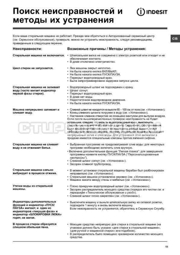 Инструкция Indesit PWSC 6107 S страница №11