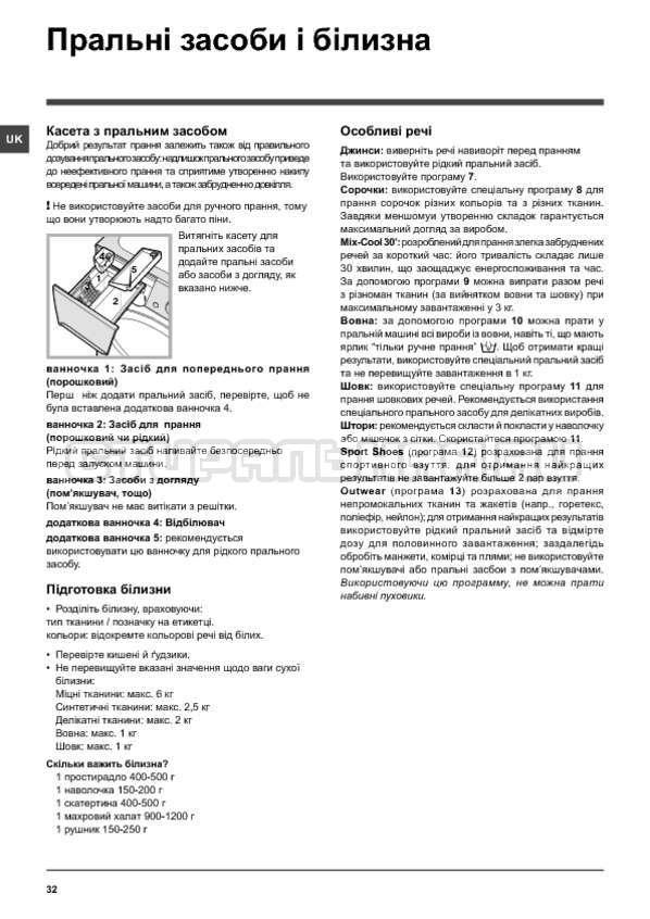 Инструкция Indesit PWSE 6104 S страница №32
