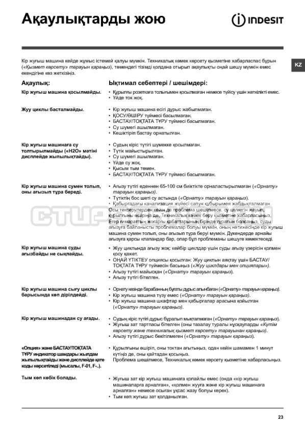 Инструкция Indesit PWSE 6104 W страница №23
