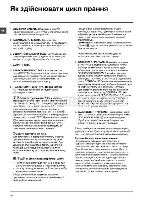 Инструкция Indesit PWSE 6104 W страница №30