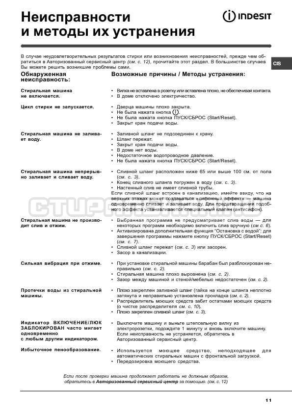 Инструкция Indesit WISN 82 страница №11