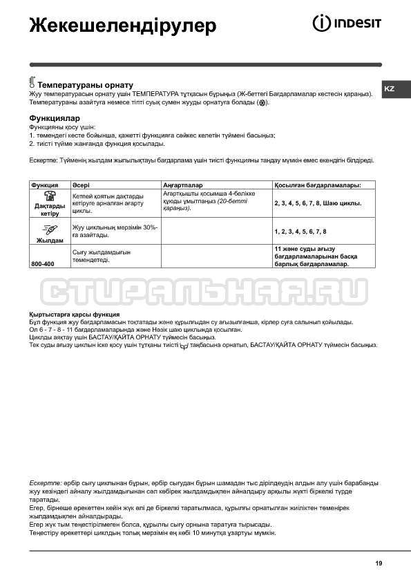 Инструкция Indesit WISN 82 страница №19