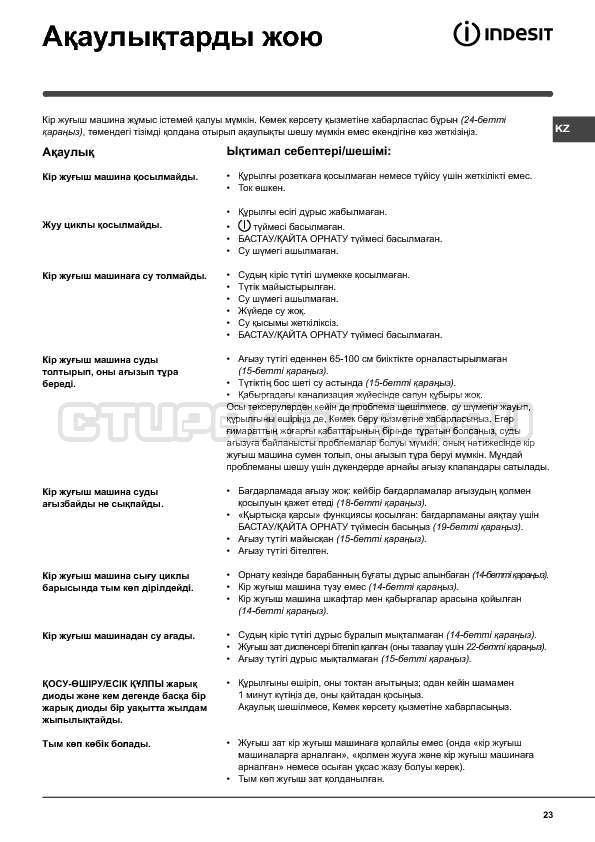 Инструкция Indesit WISN 82 страница №23