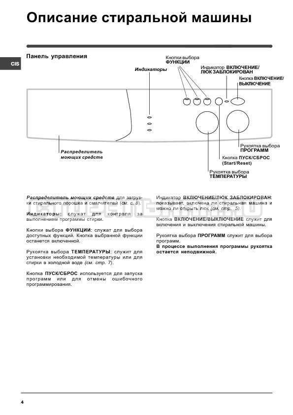 Инструкция Indesit WISN 82 страница №4