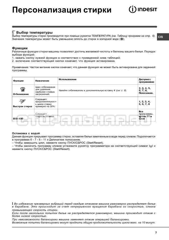 Инструкция Indesit WISN 82 страница №7
