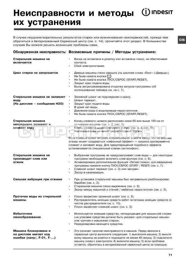Инструкция Indesit WITE 1077 страница №11