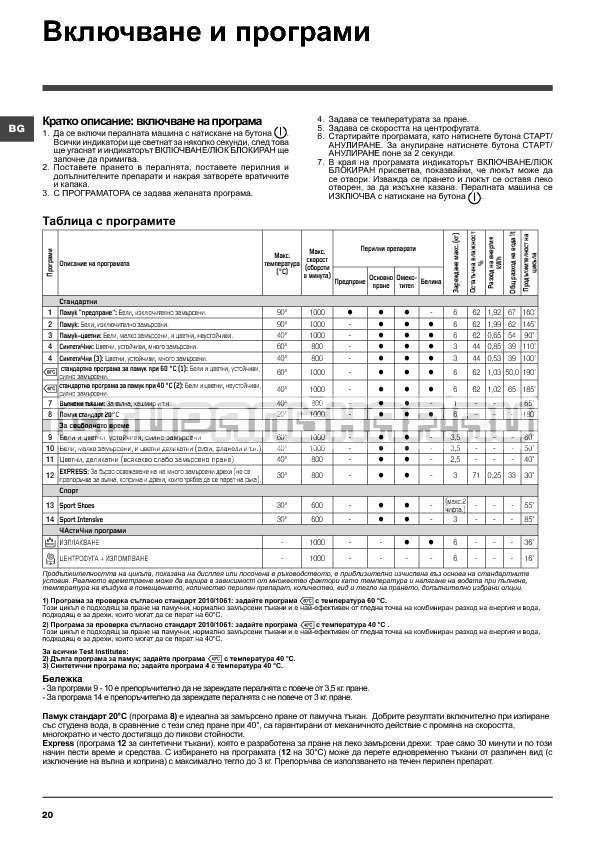 Инструкция Indesit WITXL 1051 страница №20
