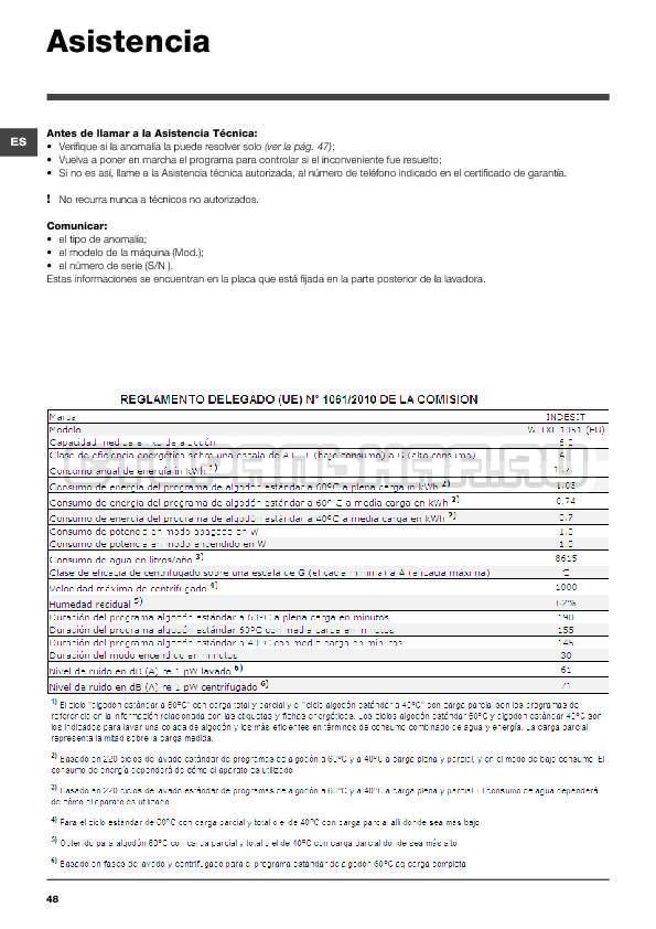 Инструкция Indesit WITXL 1051 страница №48
