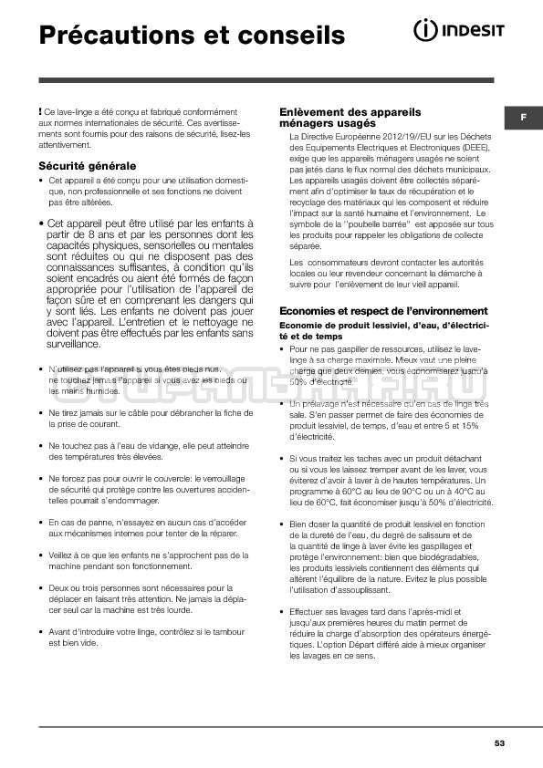 Инструкция Indesit WITXL 1051 страница №53