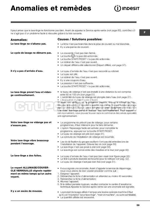 Инструкция Indesit WITXL 1051 страница №59