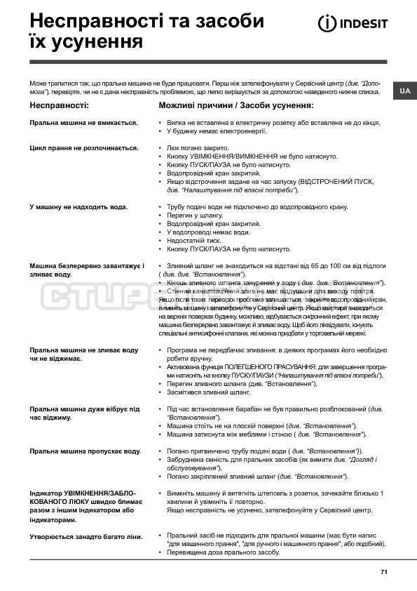 Инструкция Indesit WITXL 1051 страница №71