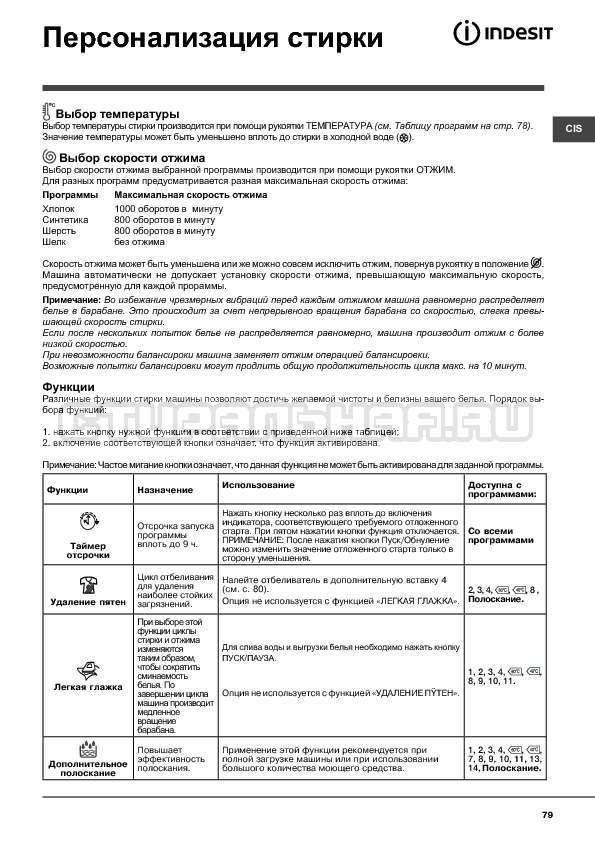 Инструкция Indesit WITXL 1051 страница №79