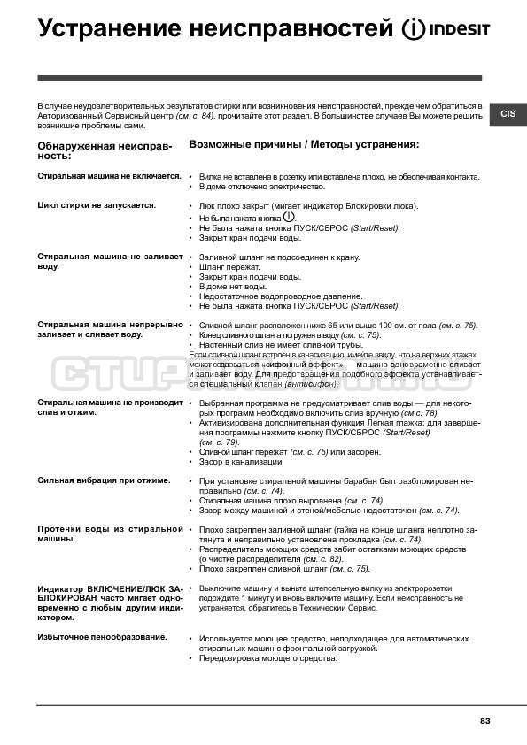 Инструкция Indesit WITXL 1051 страница №83