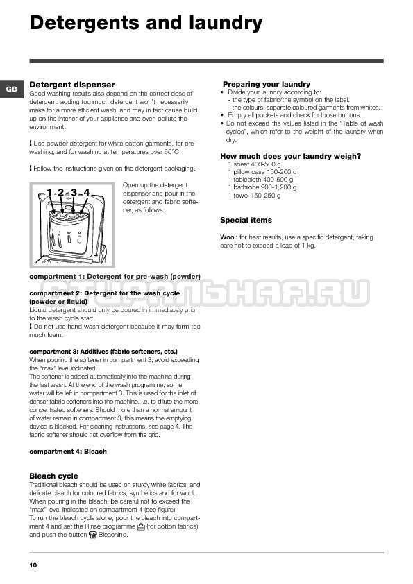 Инструкция Indesit WITXL 1051 страница №10