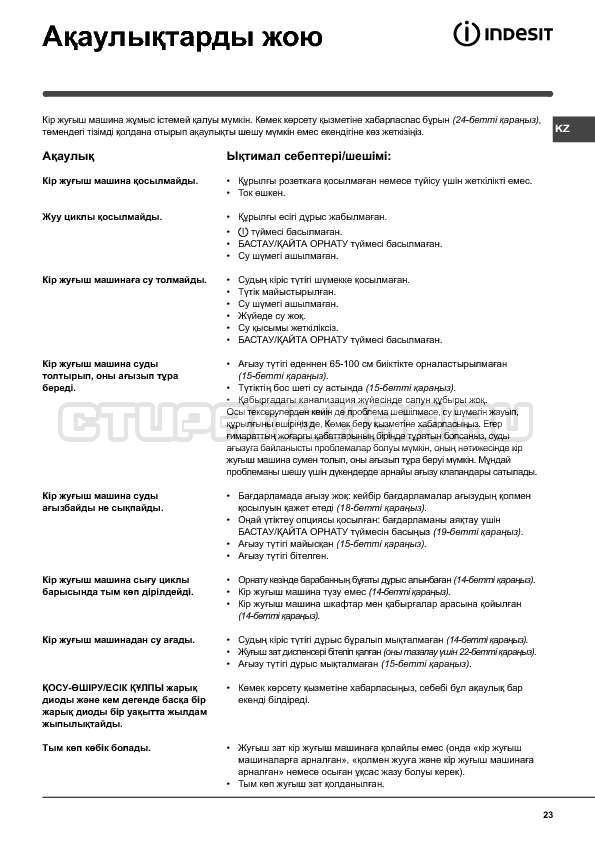 Инструкция Indesit WIUN 105 страница №23