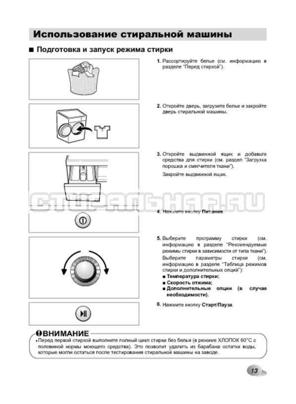 Инструкция LG F1022NDR страница №13
