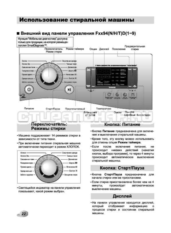 Инструкция LG F1294HD страница №22