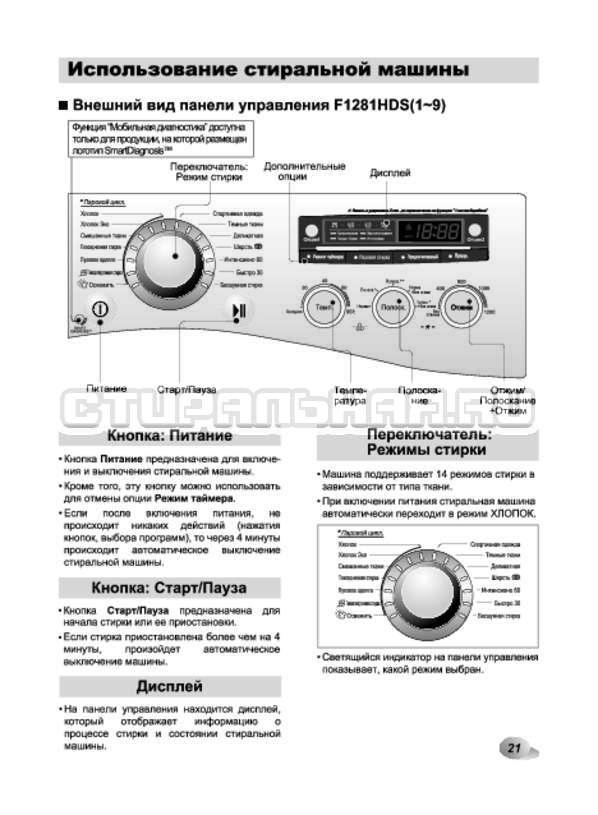 Инструкция LG F12A8HDS страница №21