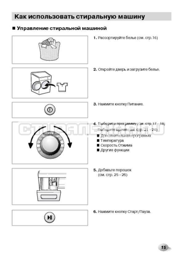 Инструкция LG F1495BDS страница №15