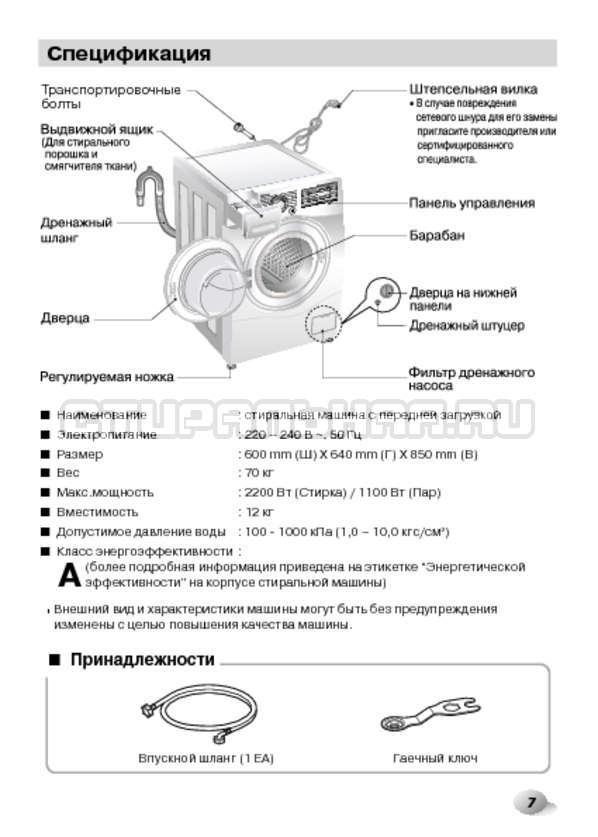 Инструкция LG F1495BDS страница №7