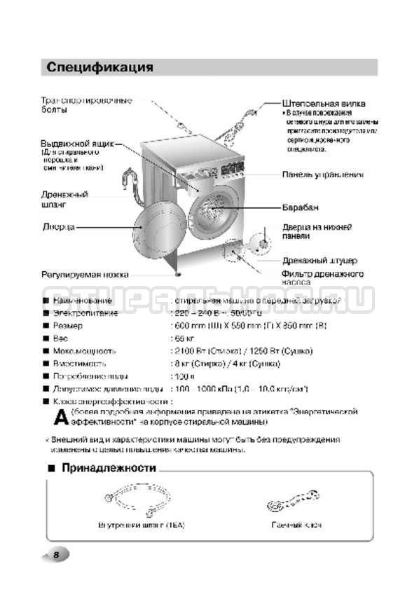 Инструкция LG F1496AD3 страница №8