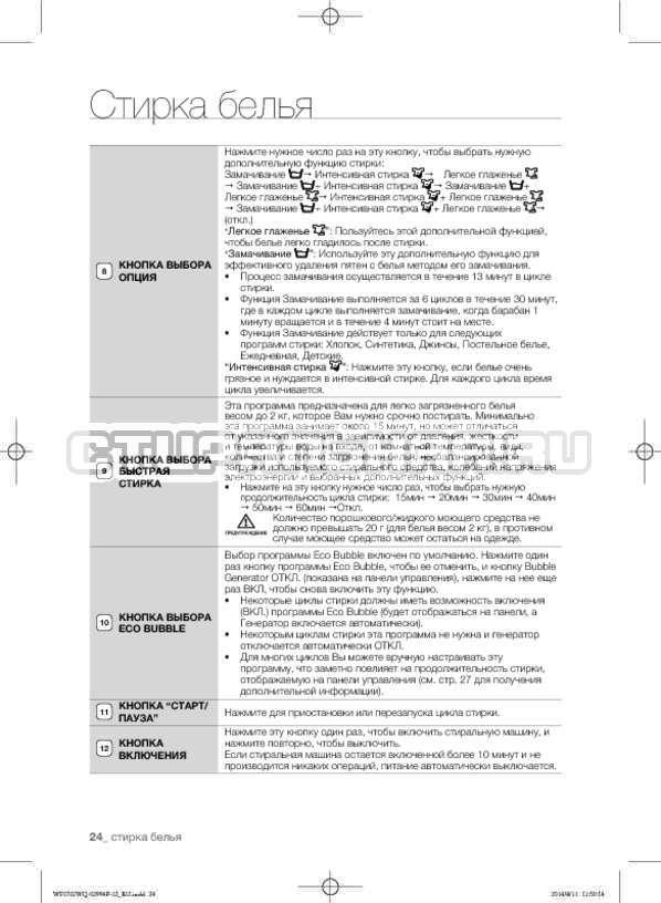 Инструкция Samsung Fuzzy Logic WF-E602YQR страница №24