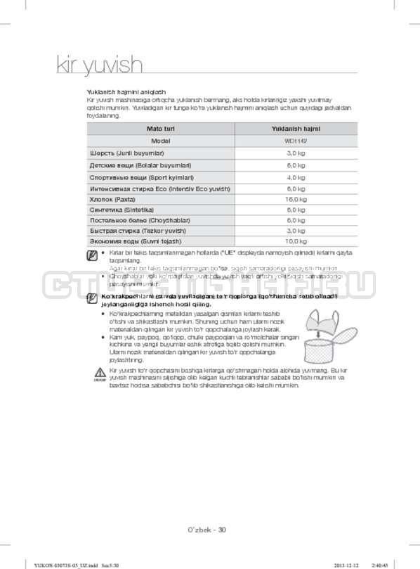 Инструкция Samsung WD1142XVR страница №162