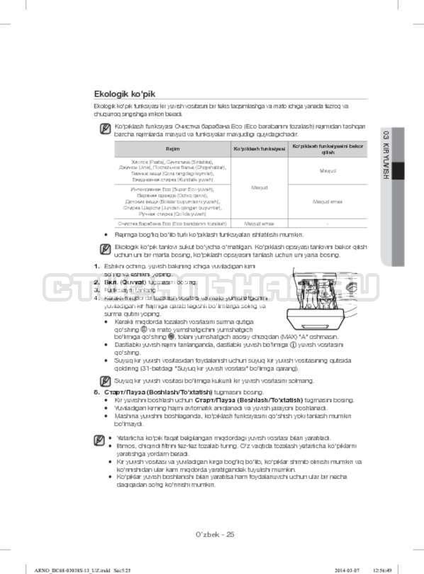 Инструкция Samsung WF1124ZAC страница №161