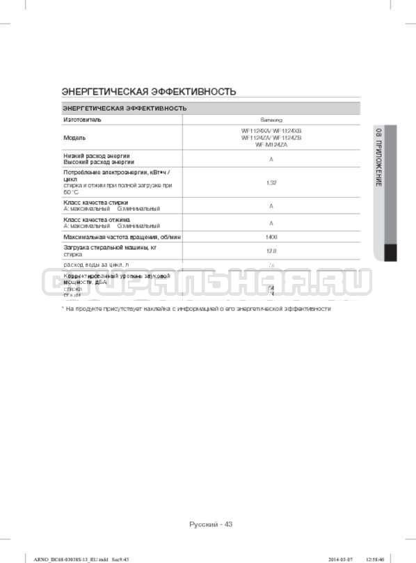 Инструкция Samsung WF1124ZAC страница №43