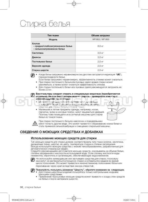 Инструкция Samsung WF1802XEC страница №30