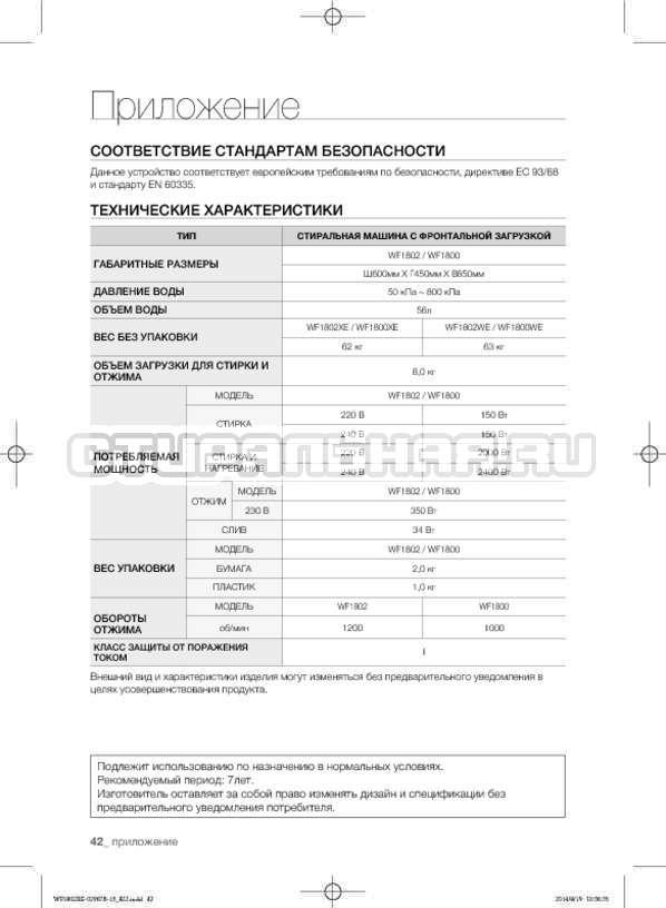 Инструкция Samsung WF1802XEC страница №42