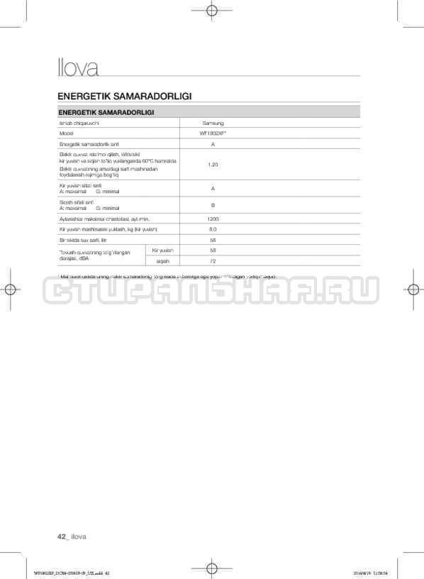 Инструкция Samsung WF1802XFK страница №174