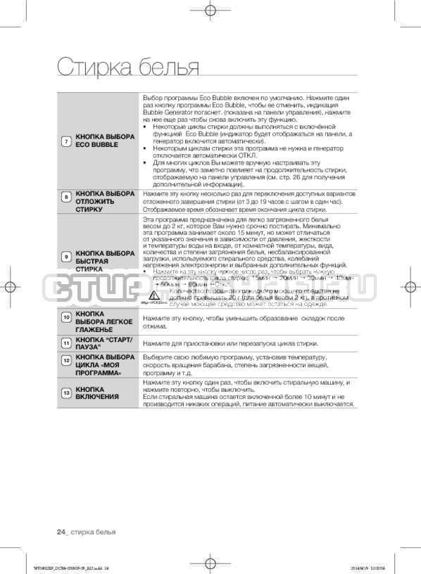 Инструкция Samsung WF1802XFK страница №24