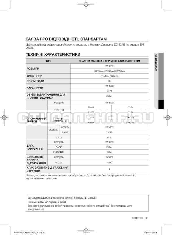 Инструкция Samsung WF1802XFK страница №85