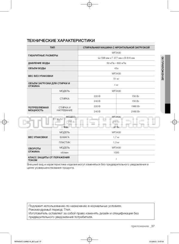 Инструкция Samsung WF3400N1V страница №37