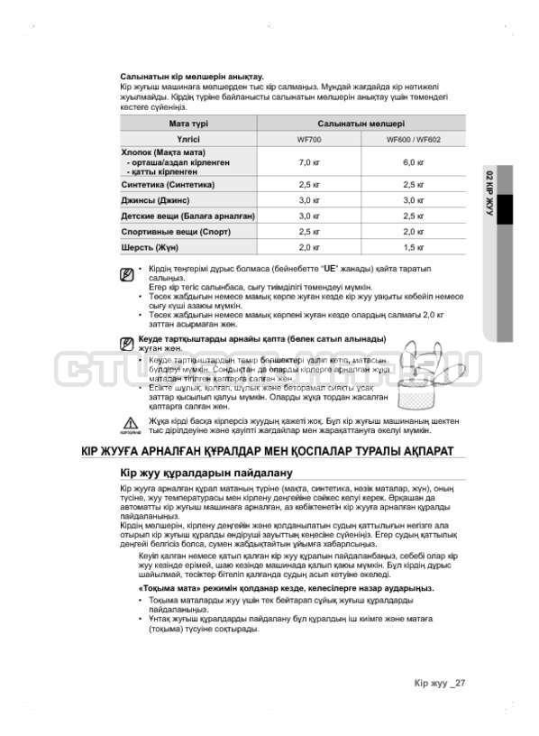 Инструкция Samsung WF600B0BCWQ страница №107