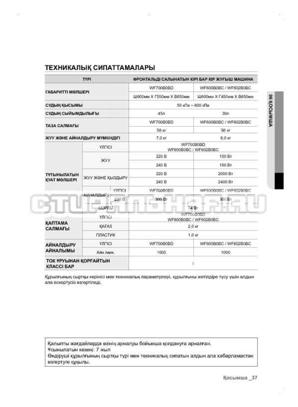 Инструкция Samsung WF600B0BCWQ страница №117