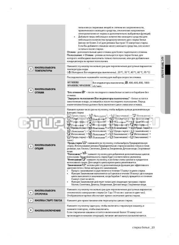Инструкция Samsung WF600B0BCWQ страница №23