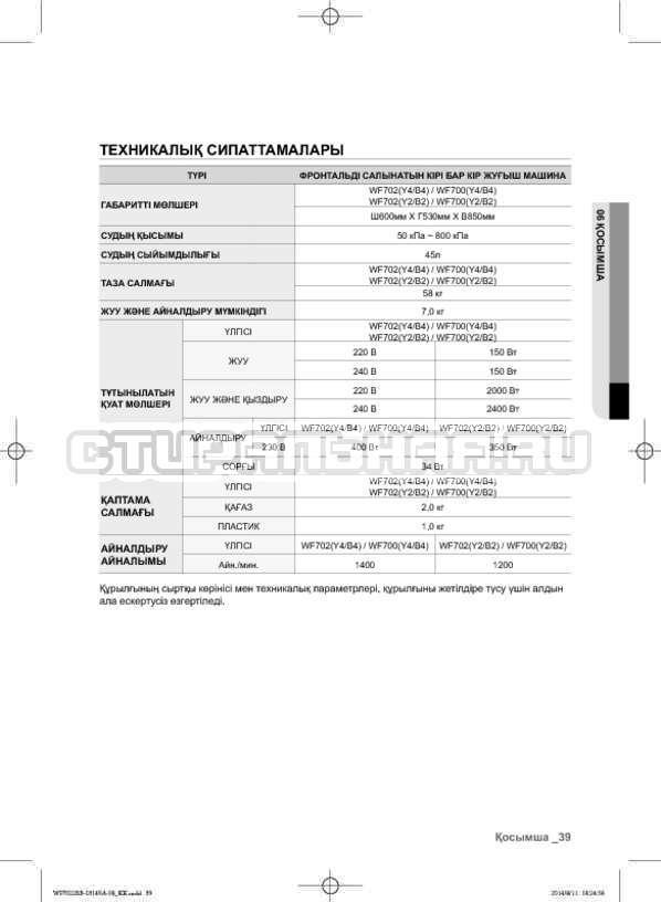 Инструкция Samsung WF602B2BKWQ страница №127